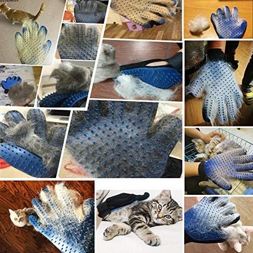 Guante de aseo para mascotas, 2 unidades, actualizado 259 suave removedor de pelo de mascotas, suave cepillo de deshedding herramienta de deshedding para gatos y perros – eficiente guante removedor de pelo de mascotas 6