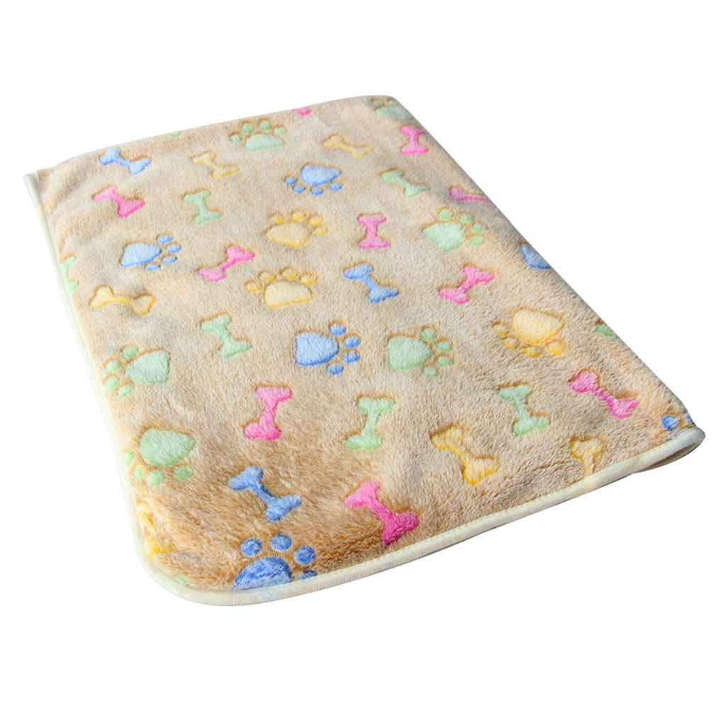 LUFA Warm Pet Mat Bone Print Cat Dog Puppy Fleece Soft Blanket Bed Cushion Brown Bone 20*20cm