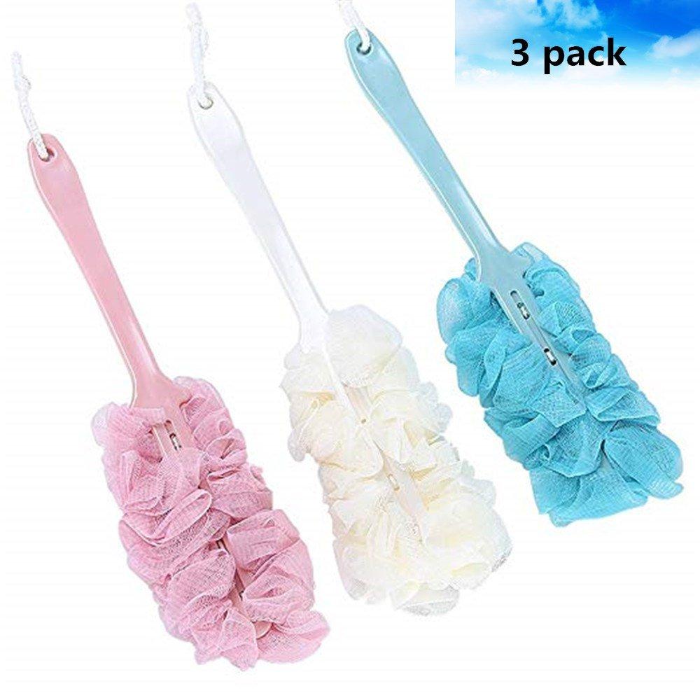 3 pack Long Handle Bath Brush,Nylon Mesh Brush/body Back/Shower Brush,Soft Sponge for Men and Women for Exfoliating Skin(blue,pink and white)
