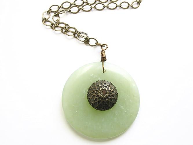 Amazon green jade stone long circle pendant necklace boho green jade stone long circle pendant necklace boho style long brass chain bohemian jewelry mozeypictures Gallery