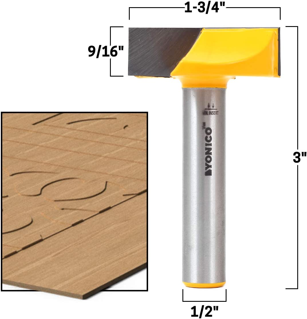 Yonico 14976 1-1//2-Inch Diameter Bottom Cleaning Router Bit 1//2-Inch Shank