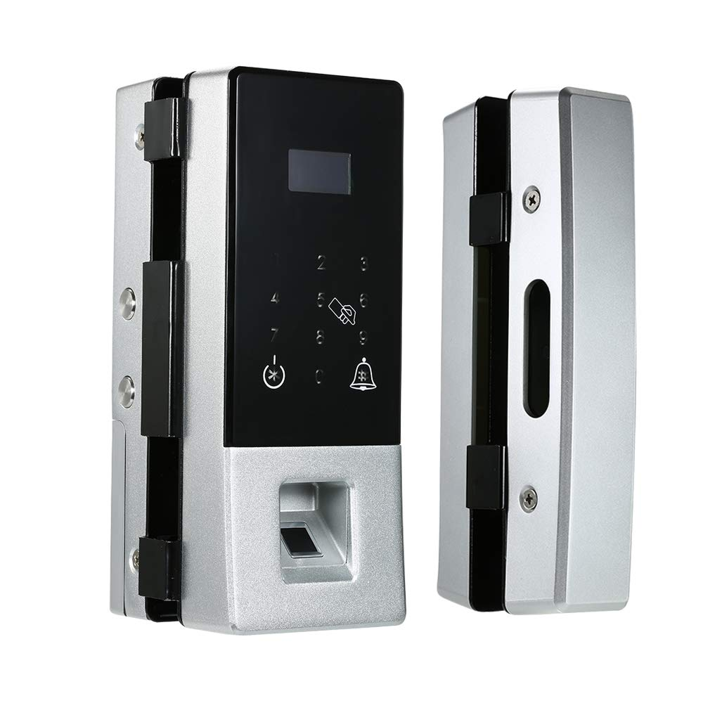 Extaum Biometric Fingerprint Door Lock for Glass Door Security Password IC Cards Remote Control Smart Touch Panel No Drill for Office Home Hotel Apartment