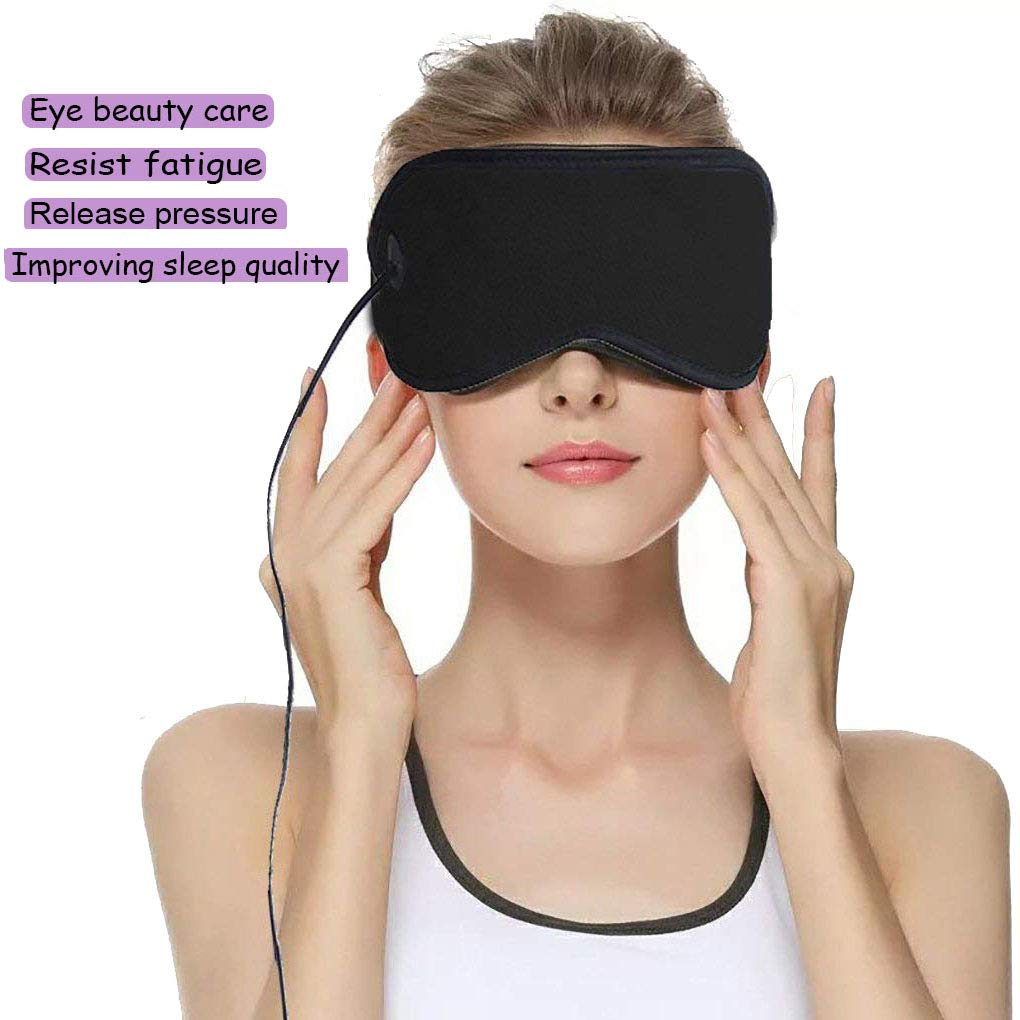 USB Eye Mask, Portable Electric Heating Pad for Eyes, Sleep Mask, 3 Temperatures Control with 6.2 ft USB Cable,Hot Therapy,Relieve Fatigue,Dry Eye, Fade Black Eye,Release The Eyes (Black)