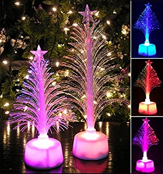 Fiber Optic Tree Set   2 Pc Set Color Changing Holiday Tree Set With A Star