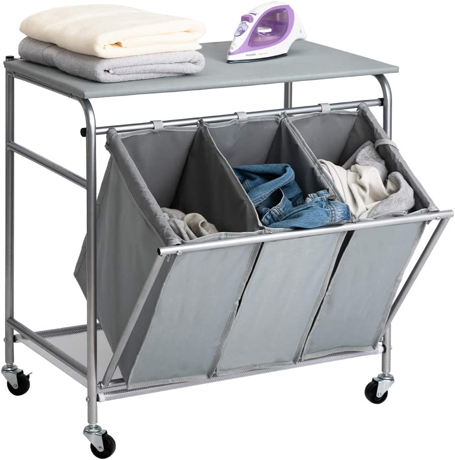 HollyHOME Laundry Sorter Cart with Unopenable Ironing Board with Side Pull 3-Bag Heavy-Duty Laundry Hamper and 4 Wheels Grey