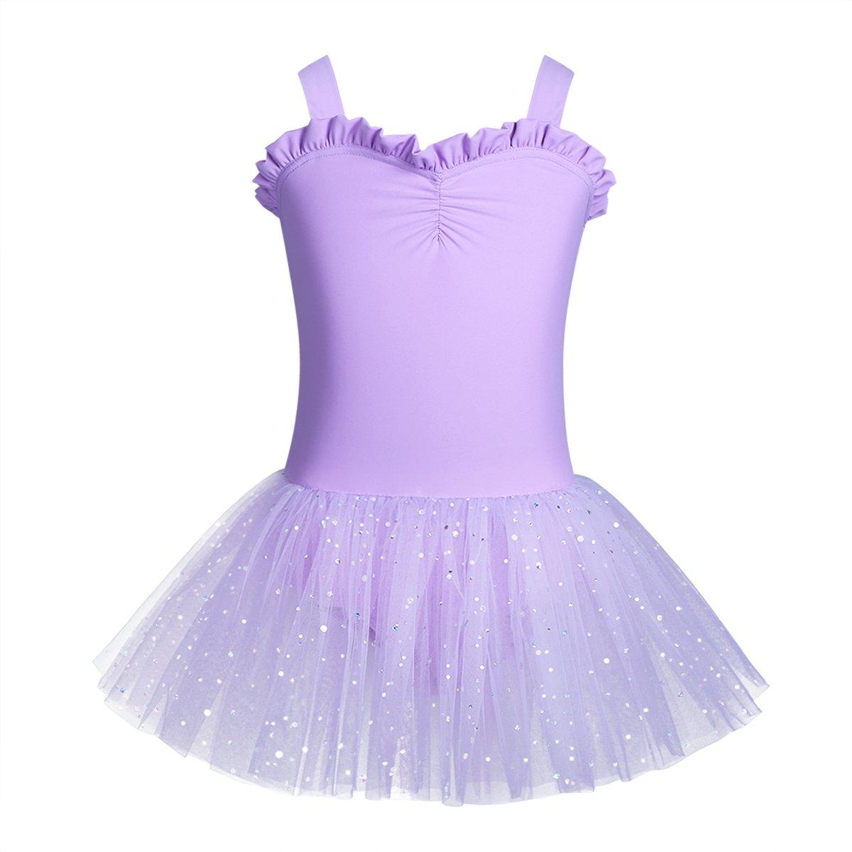iiniim Kinder Ballettkleid Mädchen Ballettanzug Trikot Tanzkleid mit glänzenden Rock Tanzkostüm Gr.92-128