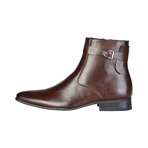 Pierre Cardin Hombre M9004 Marrón Cuero Botines De Cremallera 6.5 UK: Amazon.es: Zapatos y complementos