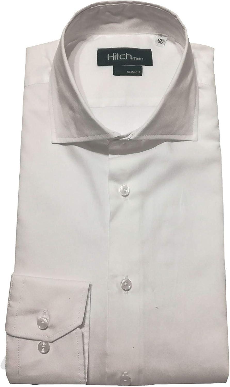 Hitch Man Camisa de Hombre Blanca Slim Fit W001 40: Amazon.es: Ropa y accesorios