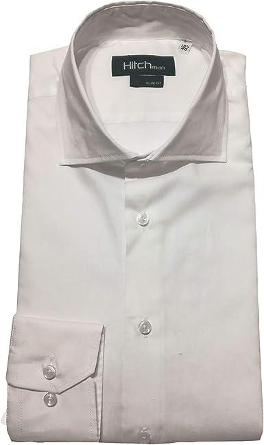 Hitch Man Camisa de Hombre Blanca Slim Fit W001 40: Amazon.es ...