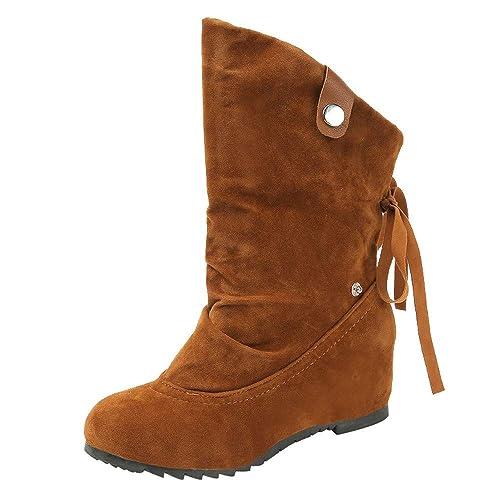 FAMILIZO Botas Mujer Ronda Toe Cuñas Zapatos De Gamuza Color Puro Algodón Zapatos Botines Mantener Caliente Otoño Botas Mujer Invierno: Amazon.es: Zapatos y ...