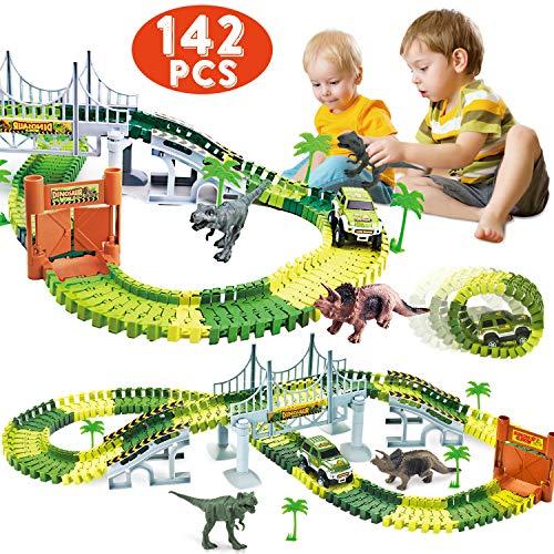 ShinePick Dinosaur 142 PCS Race Car Train Track Toys Create A Road Dinosaur Tracks Set Flexible Tracks Playset, Perfect Christmas & Birthday Gift for Kids (Dinosaur Car Track)