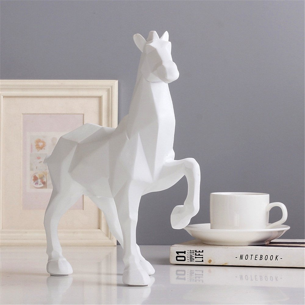Horse Sculpture Statue Crafts Home Model Home Table Decoration Geometric Resin Animal Statue Crafts (White) by Lucky House (Image #4)