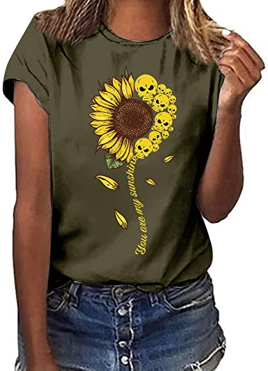 Womens Comfy Sunflower Printed Blouses Round Neck Short Sleeve T-Shirt Cute Floral Tops