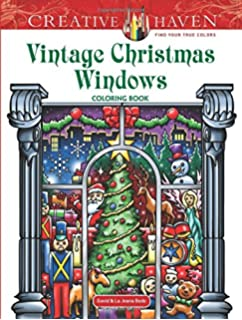 Creative Haven Vintage Christmas Windows Coloring Book Adult