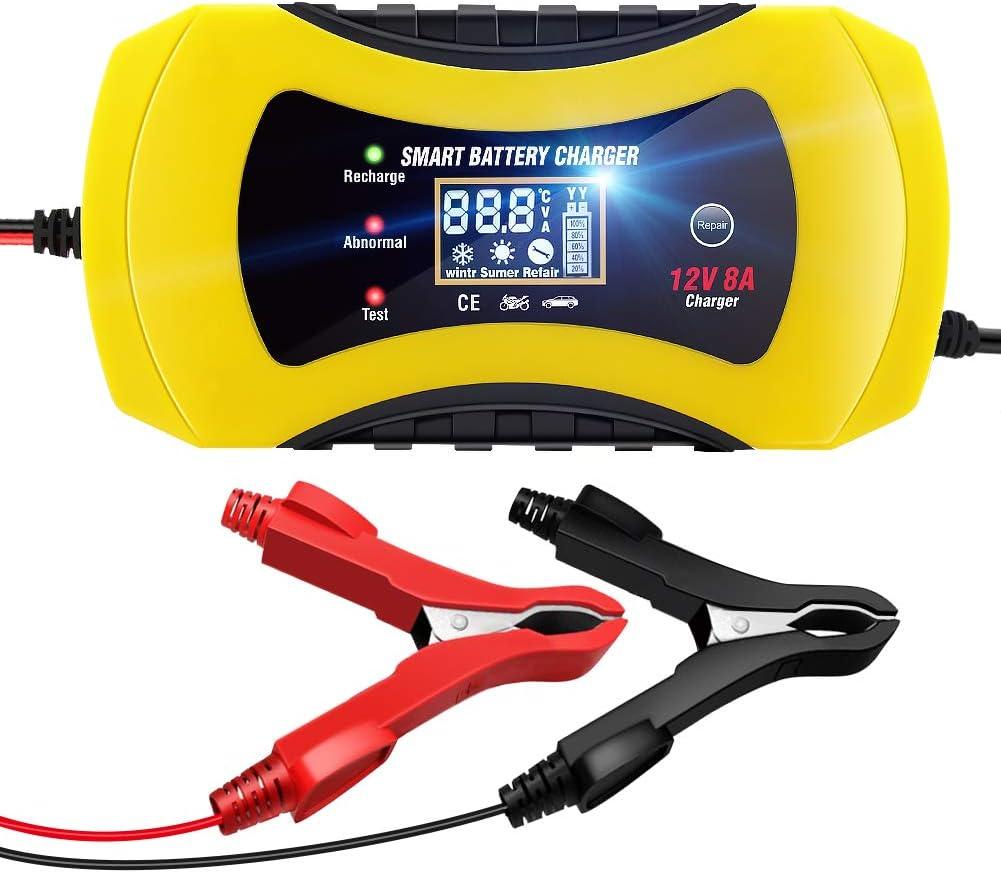 NWOUIIAY Cargador Batería Coche 12V 8A Inteligente Portátil Cargador Batería Moto con Protecciones Múltiples LCD Pantalla Digital para Cargar Baterías de AGM Gel SLA Wet Calcio etc