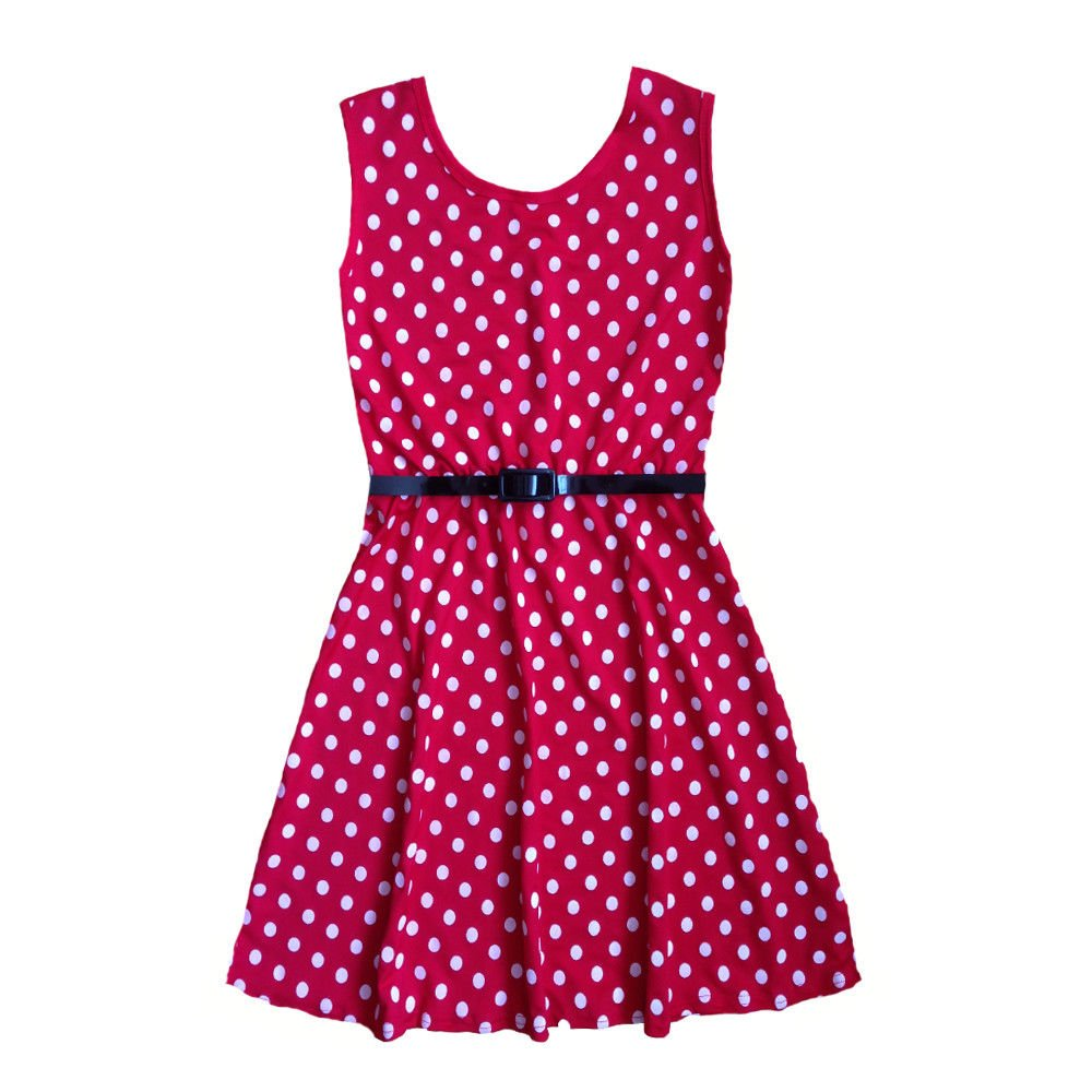 Papaval Kids Girls Polka Dot Sleeveless Belted Party Summer Dresses Age 2-14 Years