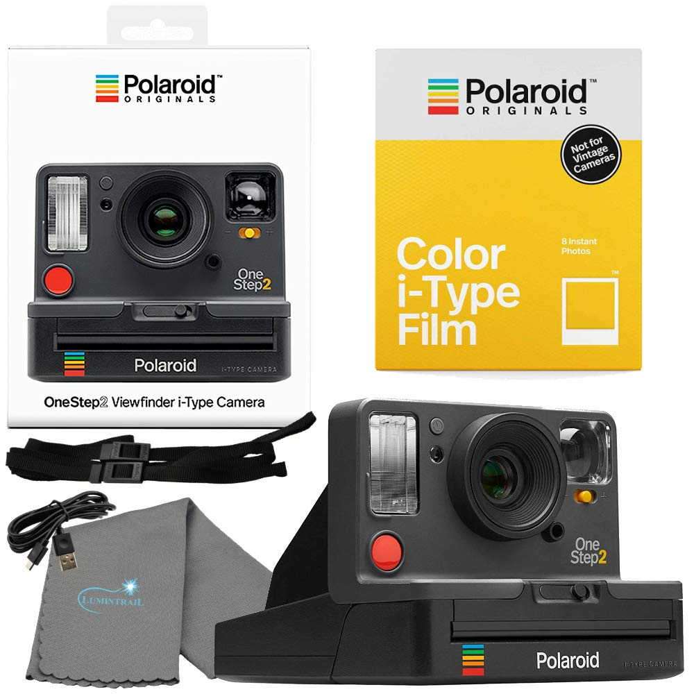 Polaroid OneStep 2 Viewfinder i-Type Camera 9009 Graphite Bundle with a Color i-Type Film Pack 4668 (8 Instant Photos) and a Lumintrail Cleaning Cloth by Polaroid