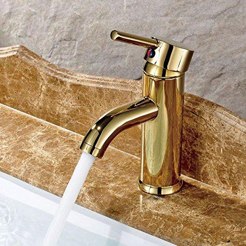 U-Enjoy Runde Short Golden Top-Qualität Mit Warmen Und Kalten Waschtisch Im Bad Waschbecken Wasserhahn Einhand-Deck Montiert [Kostenloser Versand]