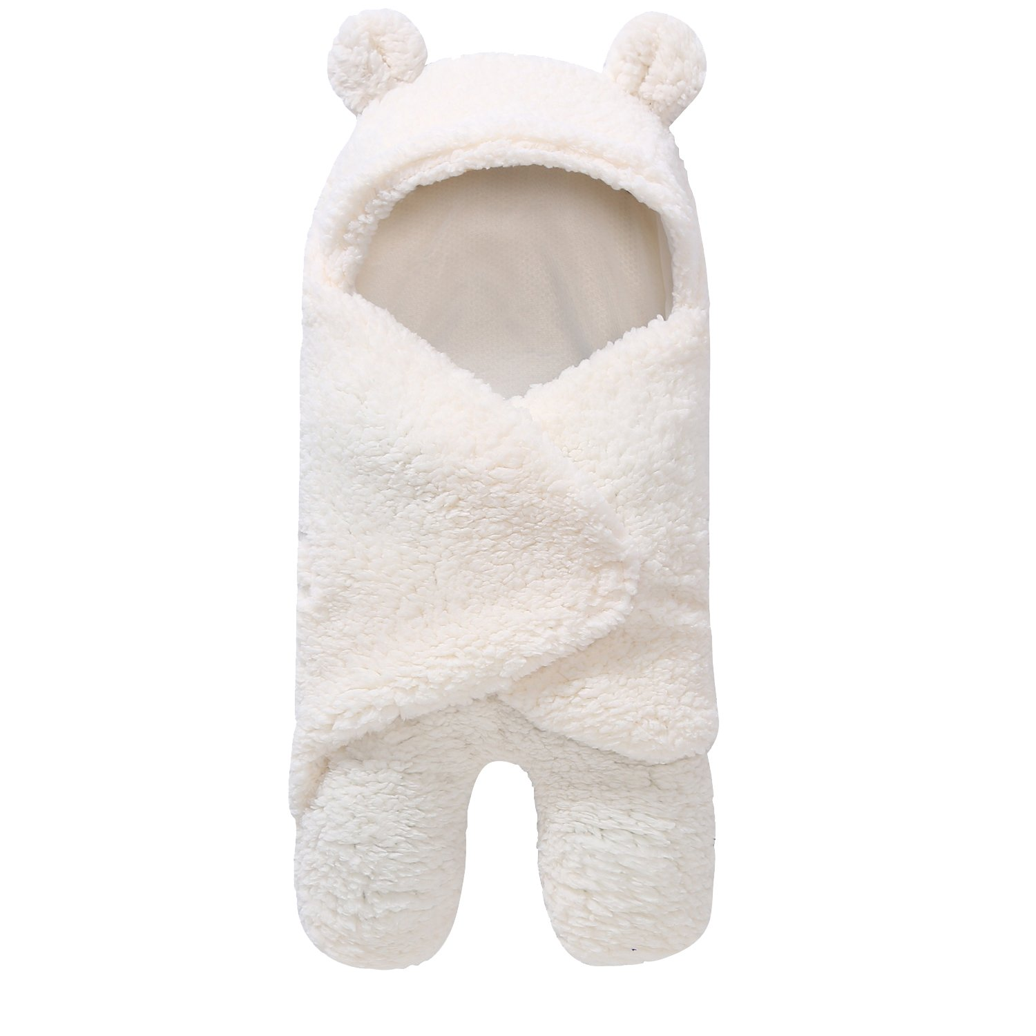 HappyMA Newborn Infant Baby Boys Girls Swaddle Blankets Pure Color Sleeping Bag, Bear Ear Receiving Blankets Outfits (White, 0-6 Months)