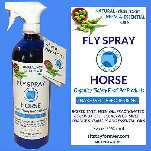 Organic Neem & Essential Oils Bug Spray for Horse  32oz Non