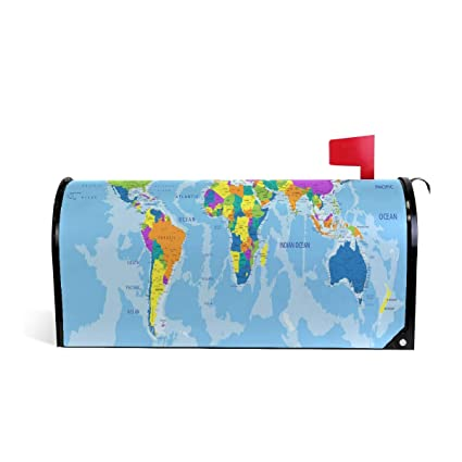 Amazon.com: Unicey Colored World Map Magnetic Mailbox Cover ... on