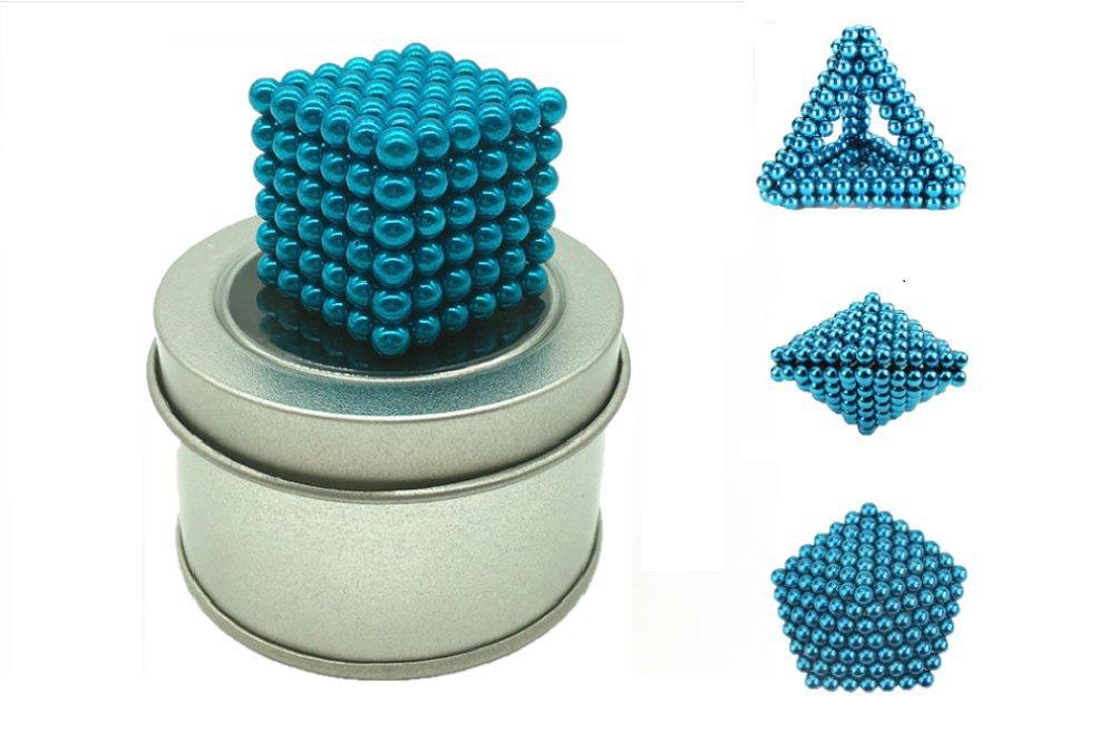 BEIBUWAN Magnetic Building BlocksChildren'sToy Magic Cube Cube, DIY Sculpture Toy BuckBall, Creative Relief Pressure (Gift Box 216pack 5mm) (Blue)