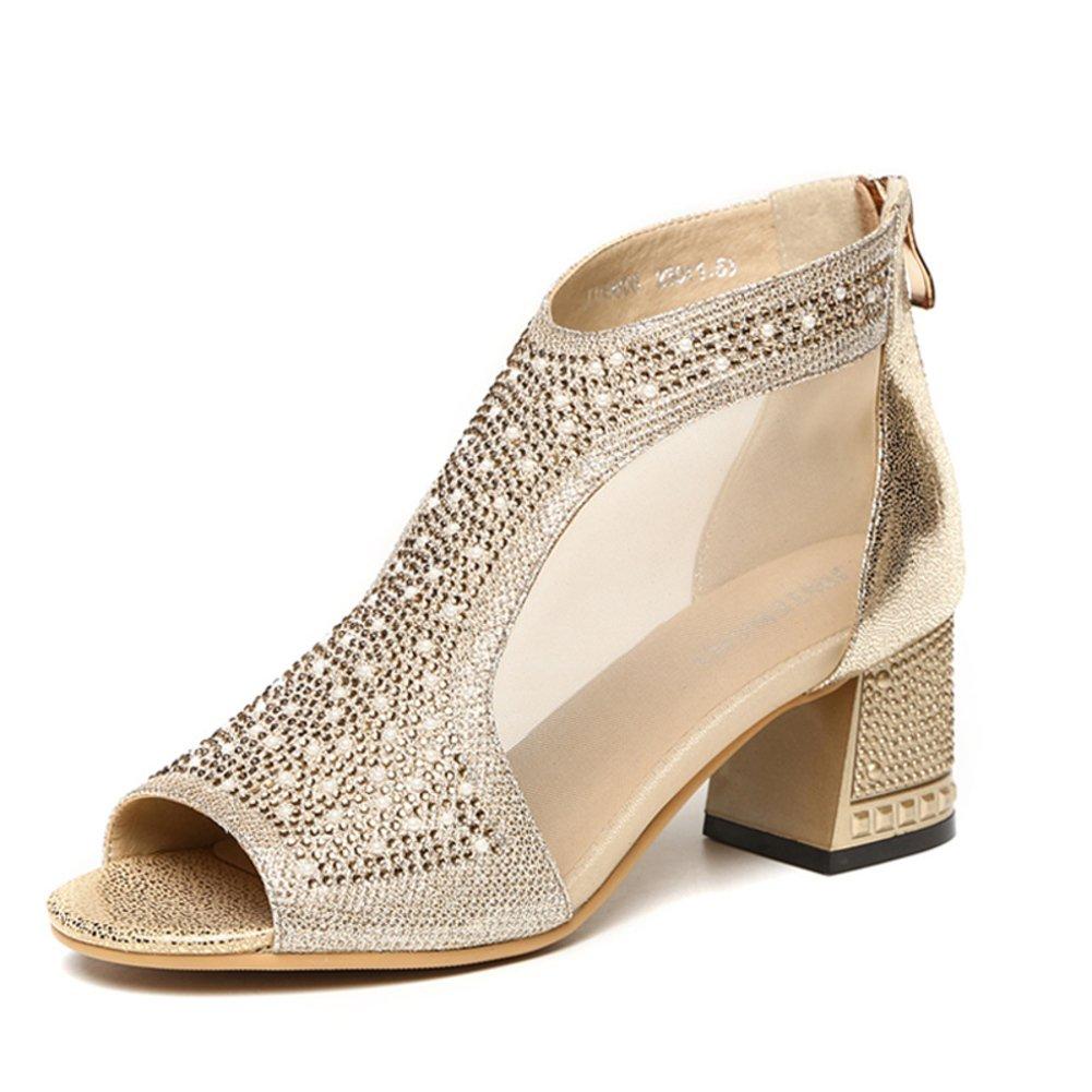 Frauen Sandalen Mesh Lederschuhe Raue Fersen Schablone Strass coolen Schuhe Dick mit coolen Strass Stiefel 6dda05