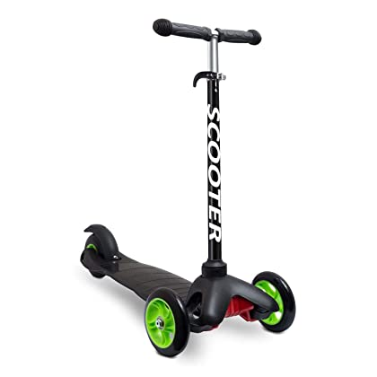 Kids Scooter - Deluxe 3 Wheel Glider with Kick n Go Lean 2 Turn Adjustable-For Ages 3 & Up (Black)