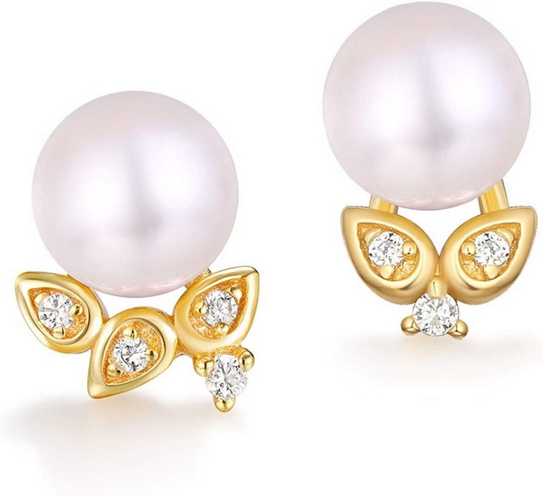 Epinki Plata de Ley 925 Pendientes para Mujer Niñas Delicado Perla Oro Aretes
