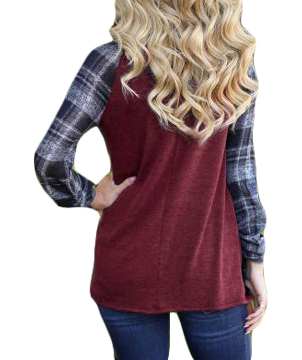 Eanklosco Women Long Sleeve Tops Plaid Patchwork Shirt Casual Round Neck Color Block Tunic Blouse (L, Wine Red)