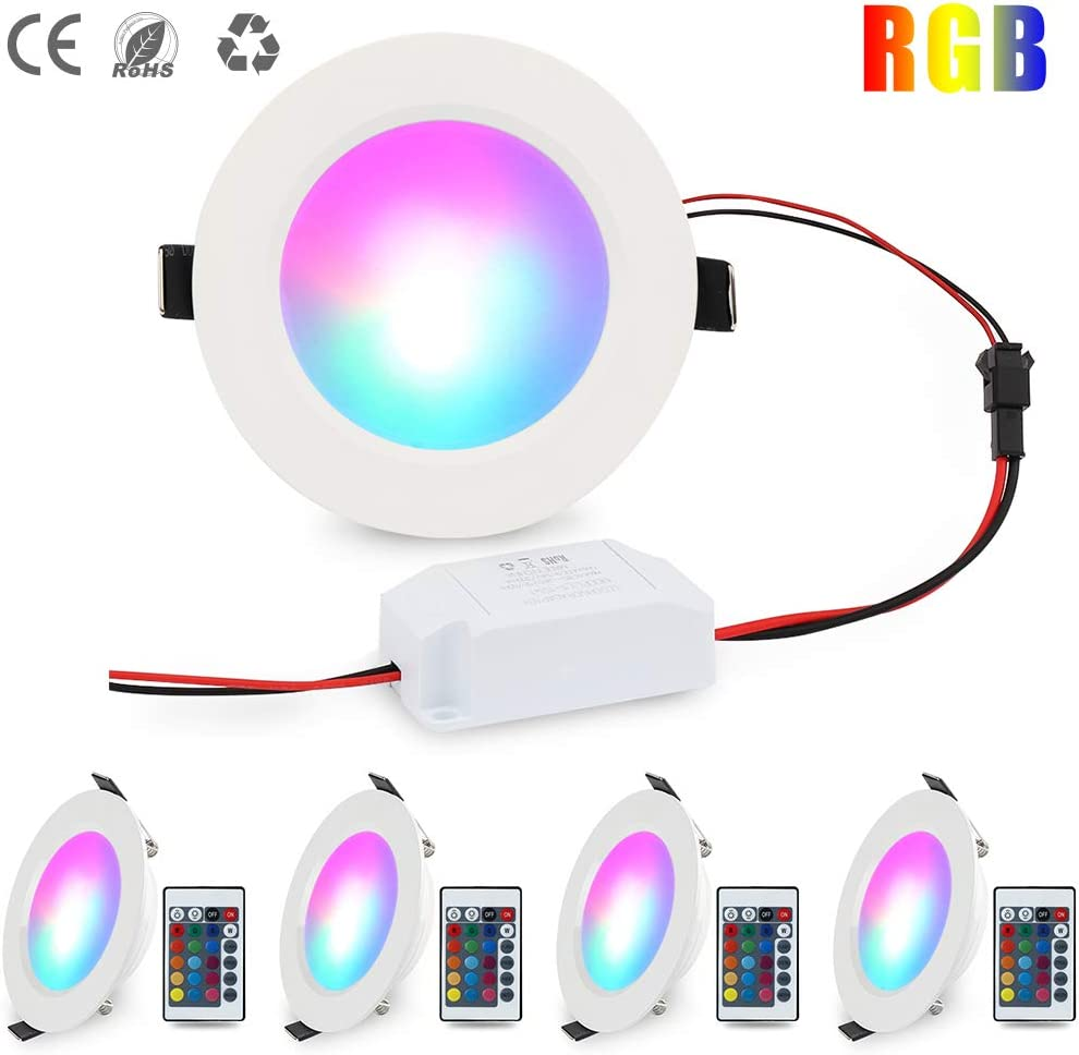 LED Panel Light Dimmable RGB Colorful Color Changing Ceiling Light Recessed Lamp