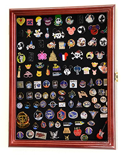 Lapel Pin Pins Display Case Cabinet Wall Rack Holder Disney Hard Rock Military Pins (Cherry FInish)