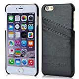 iPhone 6 Plus Case, AIYZE Apple iPhone 6 + Cover 5.5 Inch genuine Leather Wallet with Credit Card ID Holders Back Shell Black