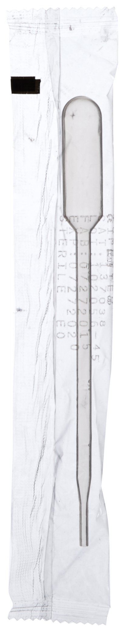 Globe Scientific 137038 LDPE Graduated Transfer Pipet, Large Bulb, Sterile, Individually Wrapped, Cellophane Pack, 145mm Length, 5.0mL Capacity (Case of 400)