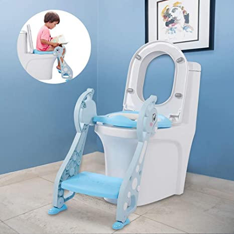 AYNEFY – Asiento de inodoro con escaleras, escalera de WC de bebé, ciervo, reposabrazos, escalera, orinal, silla para bebé, niño, entrenamiento infantil, asiento de inodoro suave – azul: Amazon.es: Bebé