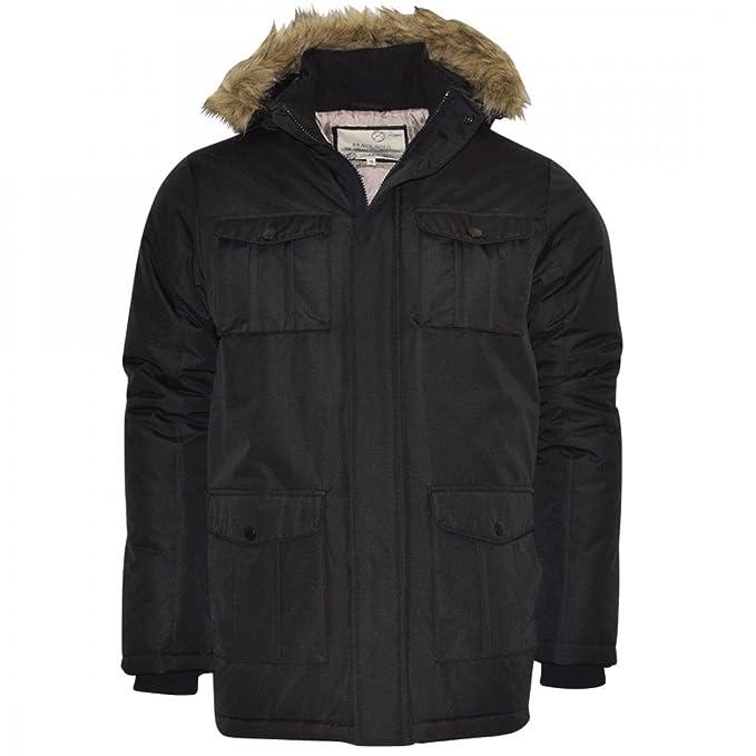 Brave de pelo para hombre Soul tela pesada de capucha para traje de buzo Parka chaqueta impermeable para acolchado de Canadá abrigo de invierno negro azul ...