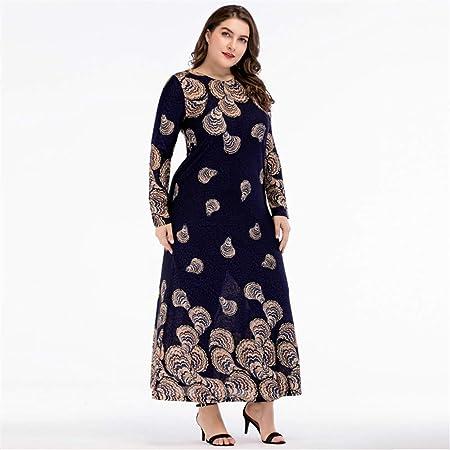 Cvbndfe Cómodo Vestido Delgado de Manga Larga de Empalme de Gran tamaño para Mujer, túnica de Oriente Medio Elegante (tamaño : XXL): Amazon.es: Hogar