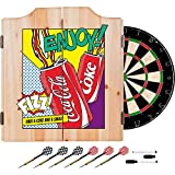 Coca Cola Dart Cabinet Set with Darts and Board - Pop Art Cans