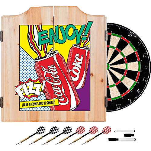 Coca Cola Dart Cabinet Set with Darts and Board - Pop Art Cans (Cabinets Dartboard Custom)