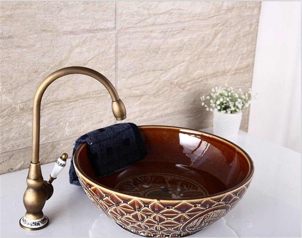 Lpophy Bathroom Sink Mixer Taps Faucet Bath Waterfall Cold and Hot Water Tap for Washroom Bathroom and Kitchen bluee and White Porcelain Antique Hot and Cold Water Single Handle Single Hole Sitting