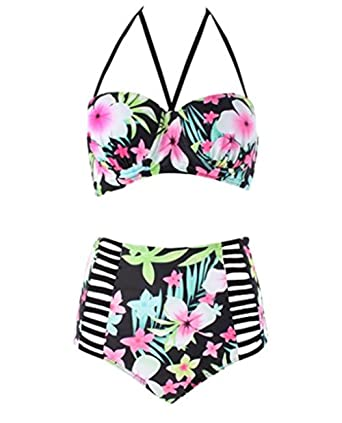 f69451ee0d Amazon.com: MILANKERR Womens Plus Size Vintage Floral High-waist Bikini  Swimwear Beach Swimsuit: Clothing