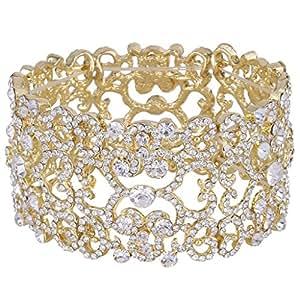 EVER FAITH Women's Austrian Crystal Bride Heart Art Deco Elastic Stretch Bracelet Clear Gold-Tone