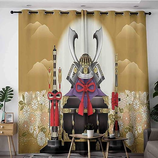 VIVIDX - Cortinas de Puerta corredera, Caja de Arquero Ornamental Japonesa con Engranajes y Flechas con Flores en Color Amarillo Sol, Cortina de Ventana Opaca, 2 Paneles, 108 x 108 l,: Amazon.es: Hogar