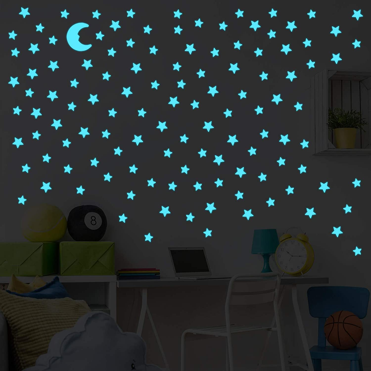 Glow in The Dark Stars for Celling Glowing Stars Wall Decals Removable Murals Decals for Kids Girls Bedding Room Decorations 150pcs Blue Plastic Stars Wall Sticker and A Moon Decor