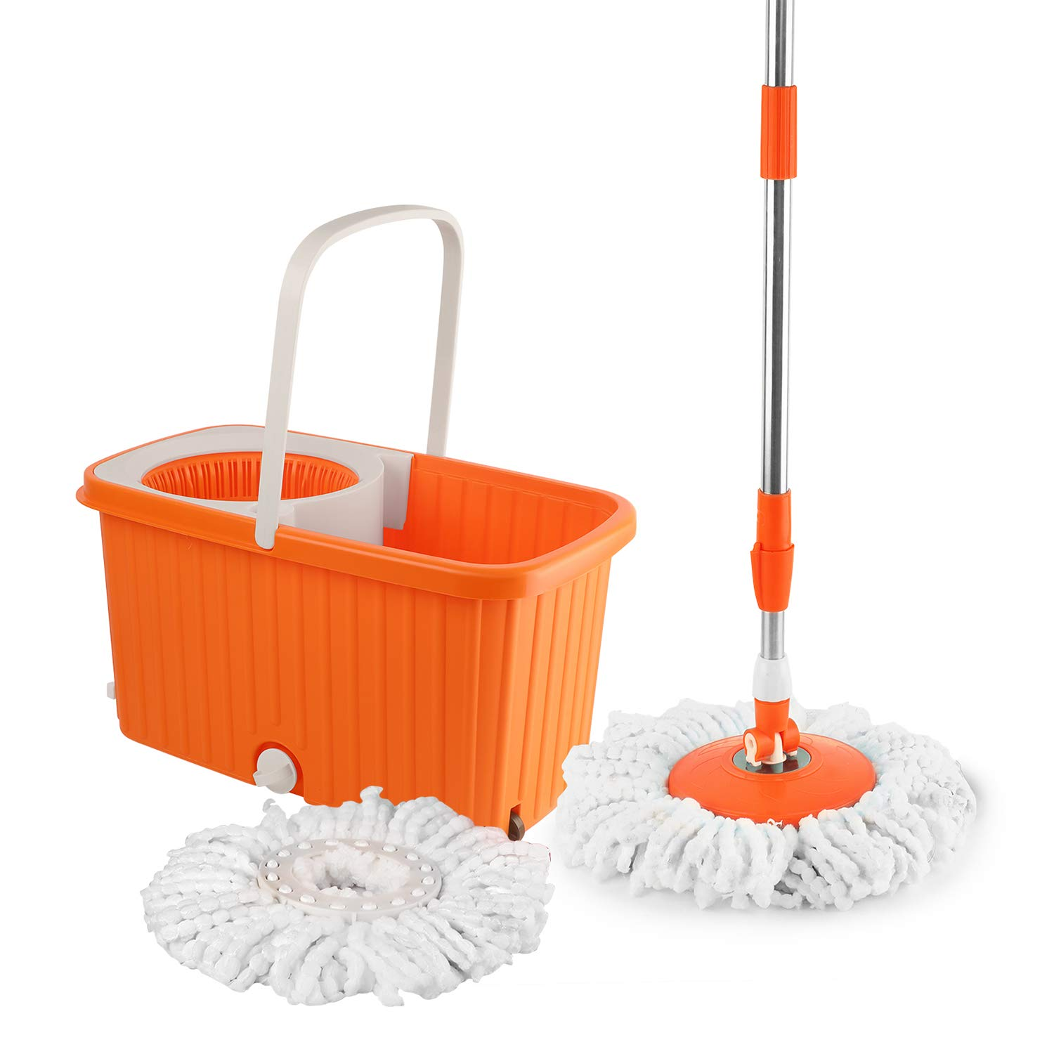 Cello Hi Clean Spin Mop with 2 refill and 1 liquid dispenser Orange