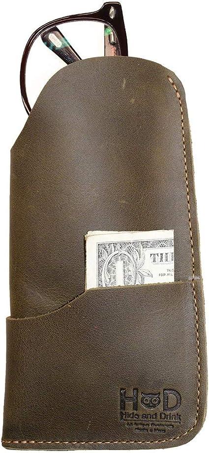 Hide /& Drink Rustic Leather Sunglasses Case /& Wallet Handmade Sangria