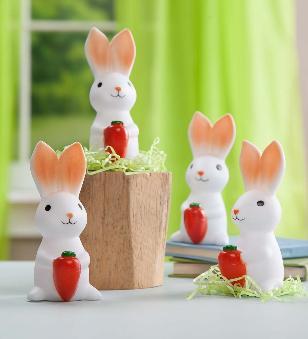 Set of 4 Color Changing Cute Bunny Lights, Battery Operated, Easter Basket Stuffers, 5