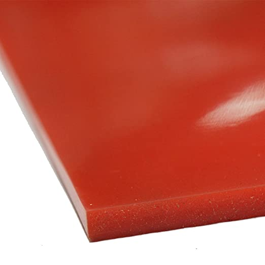 1//8 Thick x 36 Width x 12 Length Rubber Sheets /& Rubber Rolls Commercial Grade Red//Orange Silicone 60A