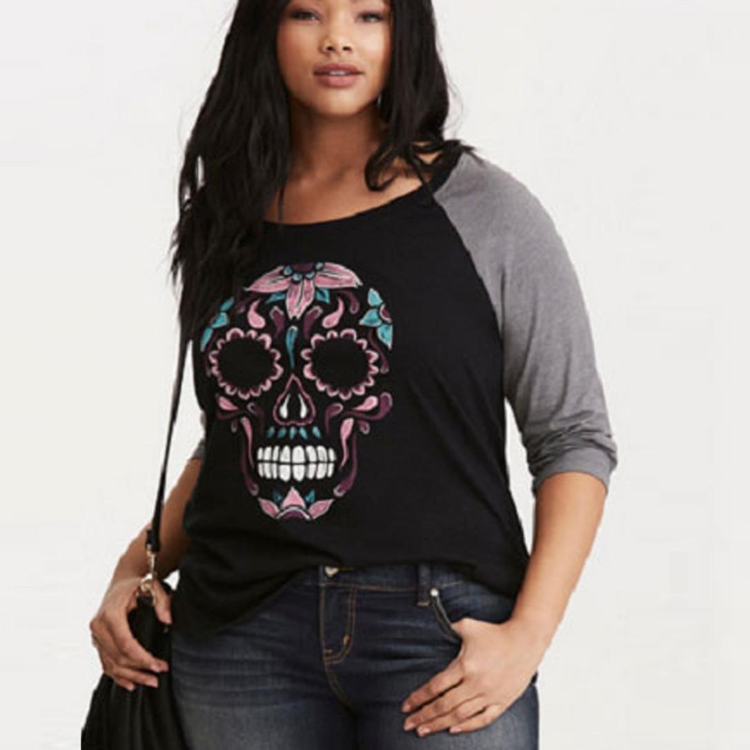 Sumen Women Plus size Skull Printed O-Neck Baseball T-Shirt Casual Sweatshirt
