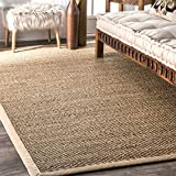 nuLOOM 200BHSG01A Elijah Seagrass with Border Area Rug, 2' 6